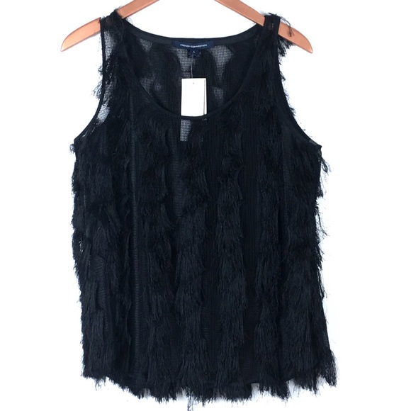 867cf722525318 French Connection Black Tank Top Blouse L Fringe